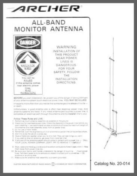 eHam net Classifieds Radio Shack scanner antenna ALL BAND