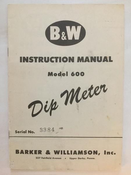 eHam net Classifieds B&W Grid Dip Meter Original Manual